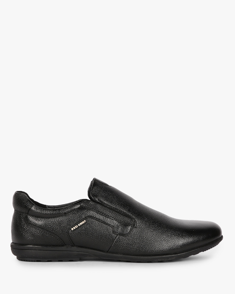 Leather Low-Top Slip-Ons By RED CHIEF ( Black )