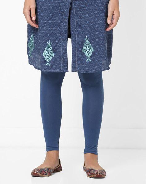 Churidar Leggings With Elasticated Waistband By AJIO ( Blue )