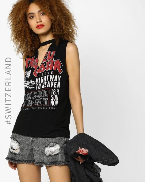 Typographic Print Top With Cutout By TALLY WEiJL ( Black )