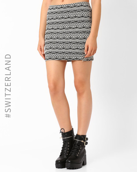Knitted Mini Skirt By TALLY WEiJL ( Black )
