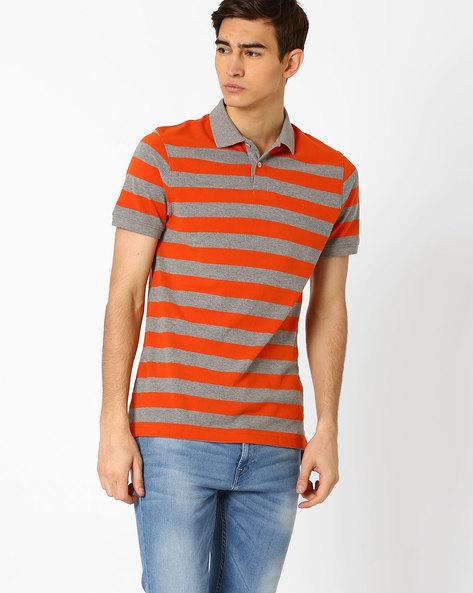 Cotton Polo T-shirt By INDIAN TERRAIN ( Orange )