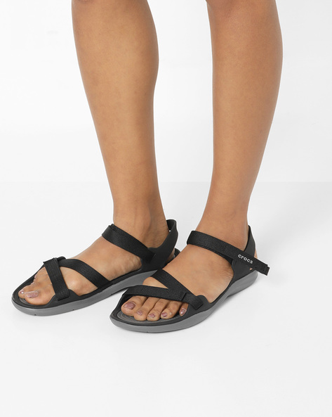 Swiftwater Webbing Flat Sandals With Velcro Closure By CROCS ( Black )
