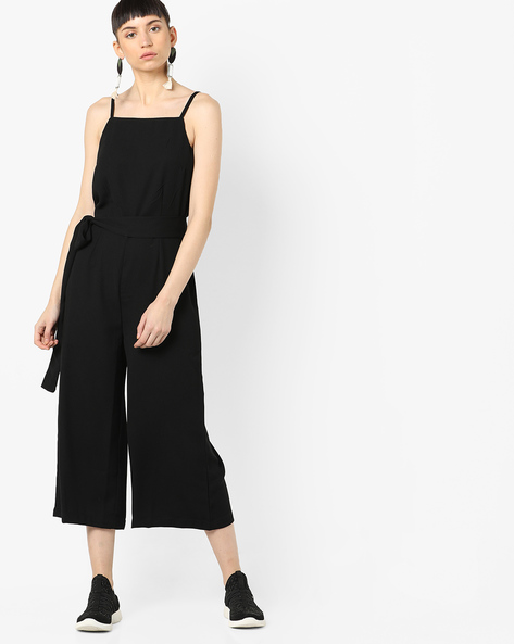 Strappy Jumpsuit With Waist Tie-Up By AJIO ( Black )