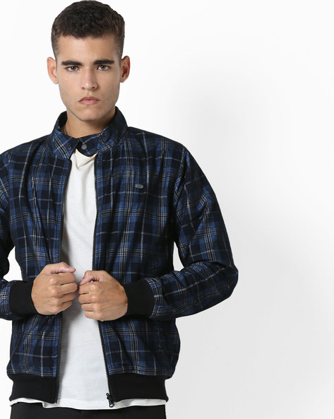 Checked Reversible Jacket With Ribbed Hems By DNMX ( Blue )