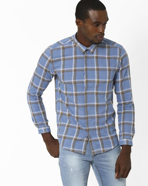 Slim Fit Cotton Checked Shirt By VOI JEANS ( Blue )