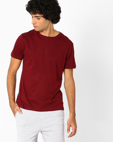 Cotton Slim Fit T-shirt By Blue Saint ( Red )