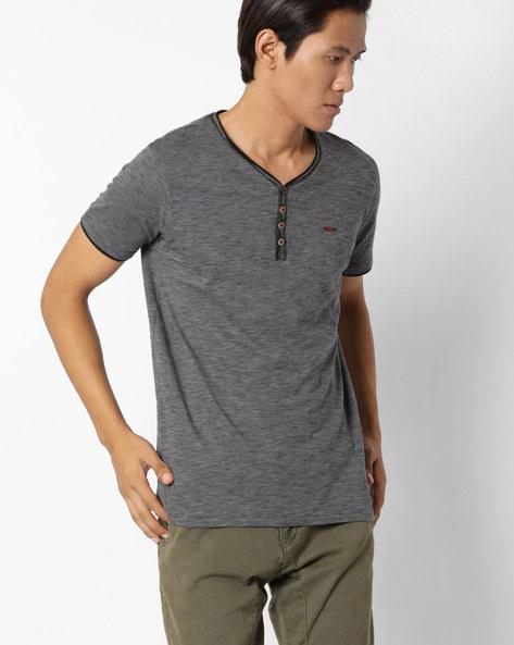 Slim Fit Slub Knit Henley T-shirt By DNM X ( Black )