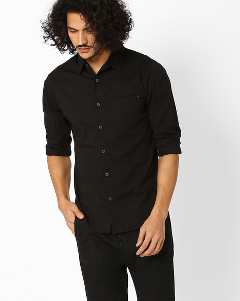 Slim Fit Shirt With Curved Hem By SPYKAR ( Black )