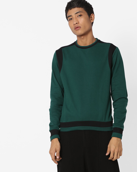 Panelled Crew-Neck Pullover By Blue Saint ( Green )
