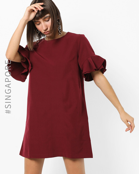 Shift Dress With Ruffled Sleeves By MDS ( Red )