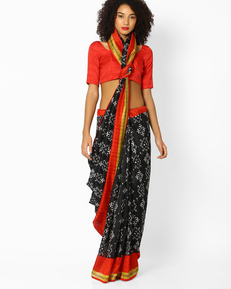 Printed Saree With Contrast Border By Vastrangi ( Black )