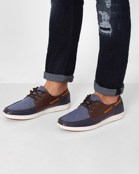 Textured Lace-Up Sneakers By Spunk ( Navy )