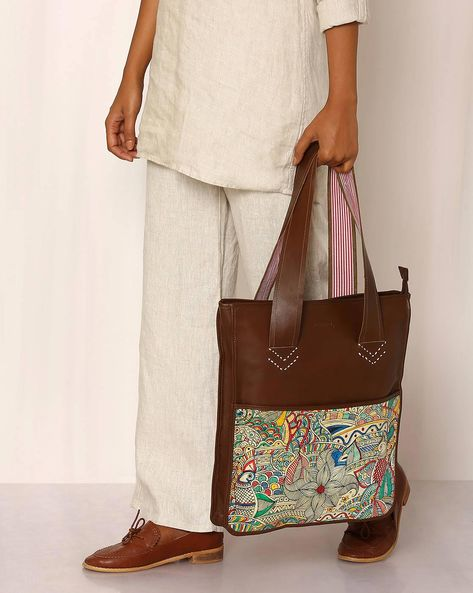 Hand-Painted Madhubani Leather Tote Bag By Moya ( Multi )