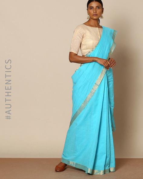 Mangalgiri Cotton Handloom Saree With Nizam Border By Indie Picks ( Blue )
