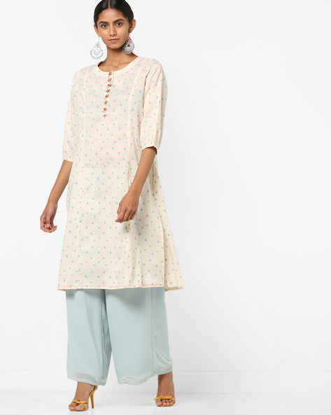 Splatter Print A-line Kurta With Embroidery By AJIO ( Offwhite )
