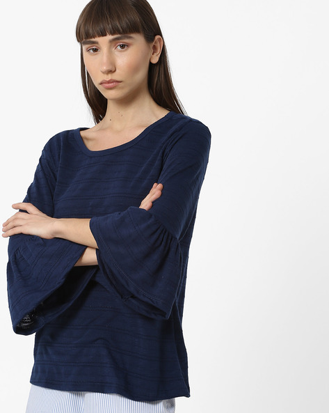 Cotton Top With Flounce Sleeves By FIG ( Navy )