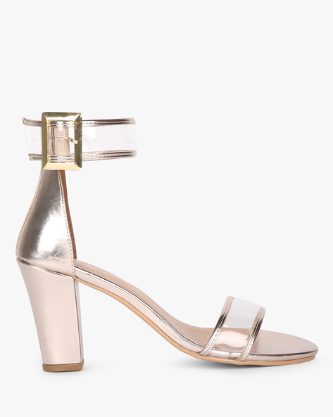 Chunky Heels With Buckle Closure By AJIO ( Gold )