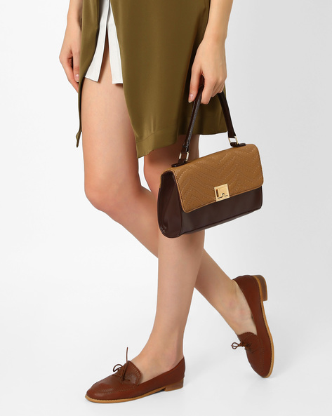 Colourblock Sling Bag With Top Handle By Lavie ( Brown )