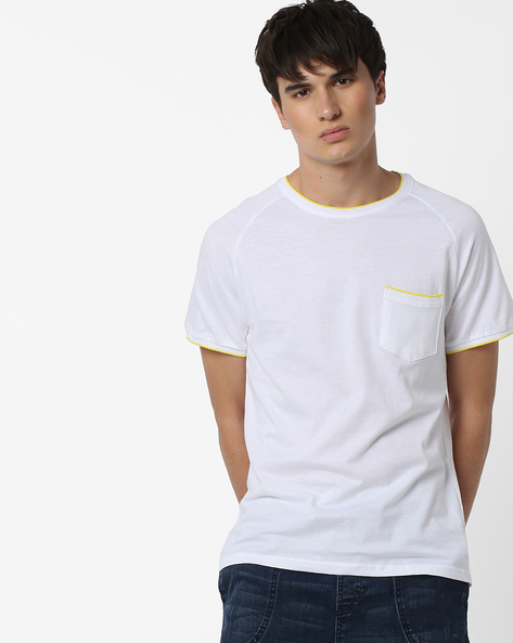 Slim Fit T-shirt With Contrast Ribbed Hems By Blue Saint ( White )