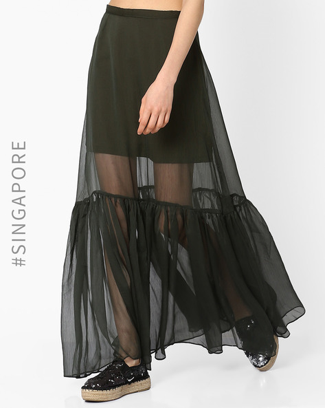 Sheer Maxi Skirt With Pleats By MDS ( Olive )