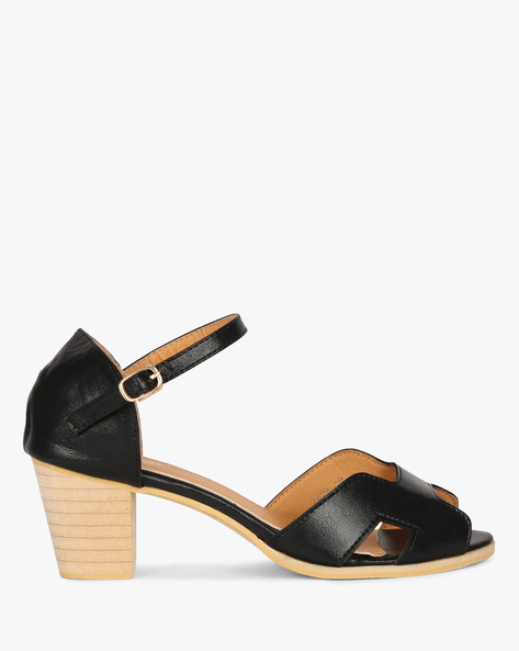 Heeled Sandals With Ankle Strap By MFT Couture ( Black )