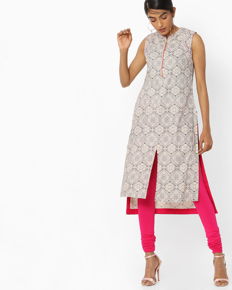 Printed High-Low Straight Kurta By AVAASA MIX N' MATCH ( Navy )