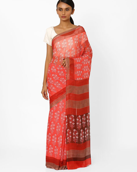 Floral Print Saree With Striped Border By Akoya ( Red )