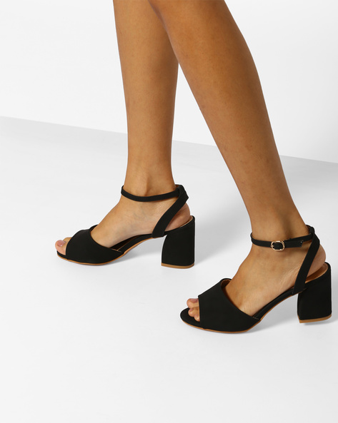 Block Heels With Ankle-Strap By AJIO ( Black )