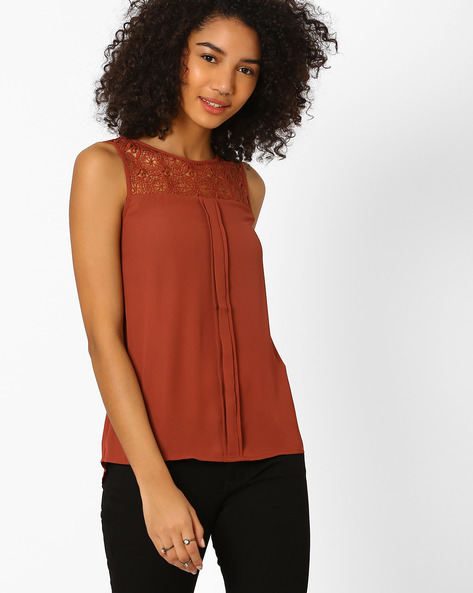 Sleeveless Top With Lace Yoke By Only ( Darkred )