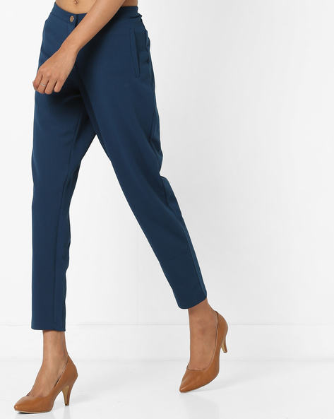 Ankle-Length Trousers With Insert Pockets By AJIO ( Teal )