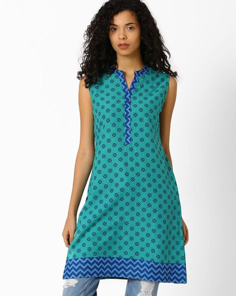 Printed Kurta With Mandarin Collar By AJIO ( Darkgreen )