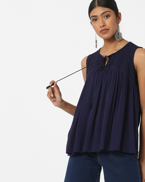 Sleeveless Top With Neck Tie-Up By DNMX ( Navy )
