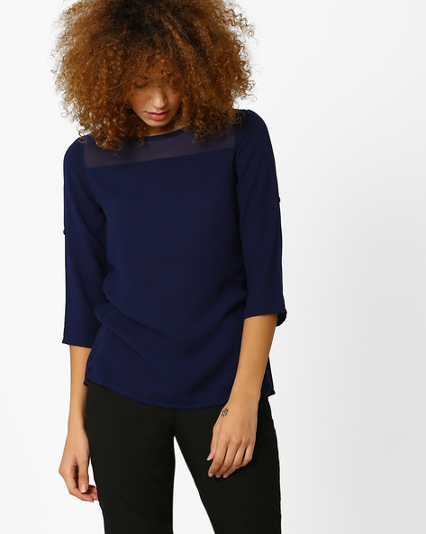 Illusion Neck Top By Honey By Pantaloons ( Navy )