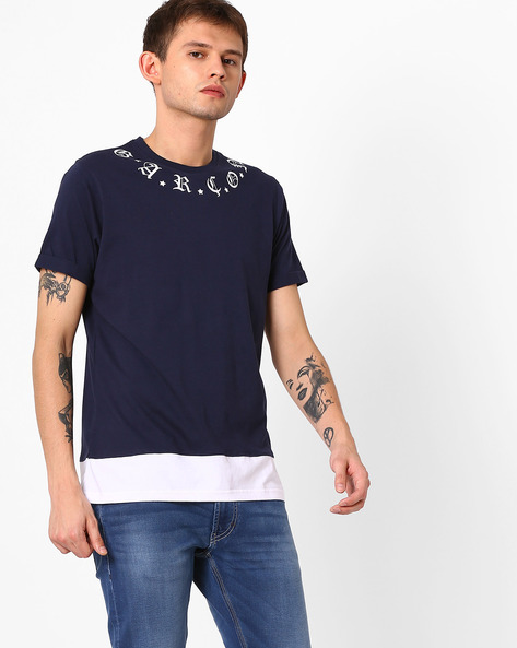 Crew-Neck T-shirt With Placement Print By Garcon ( Navyblue )