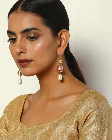 Brass Dangler Earrings With Pearl Drops By Courtyard ( Multi )