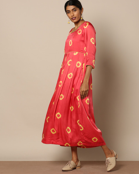 Cotton Satin Bandhej Print Maxi Dress By Miar Designs ( Pink )