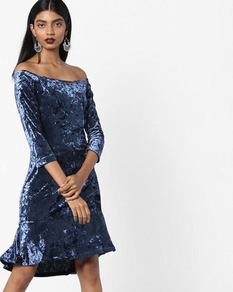Textured Off-Shoulder Dress By AJIO ( Navy )