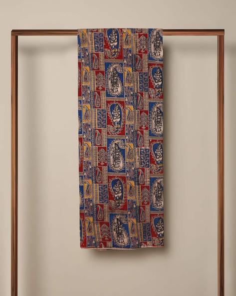 Printed Cotton Kalamkari Kurta Fabric By Indie Picks ( Blue ) - 460103638001