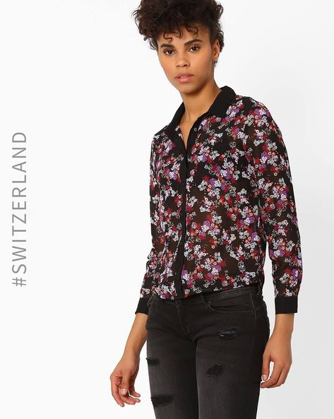 Floral Print Shirt By TALLY WEiJL ( Wine )