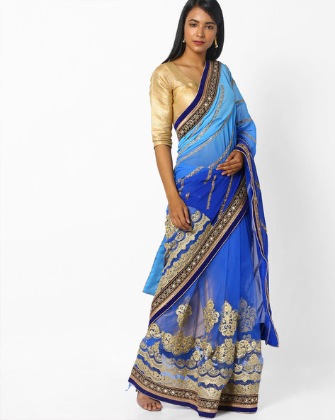 Embroidered Half-and-Half Saree By CHHABRA 555 ( Blue )