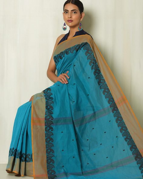 Kanchi Cotton Saree With Buti And Woven Paisley Border By Indie Picks ( Blue )