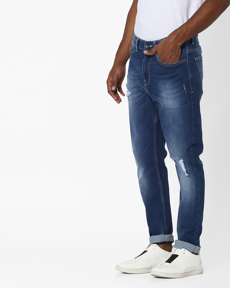 Lightly Washed Distressed Slim Fit Jeans By UNITED COLORS OF BENETTON ( Blue )