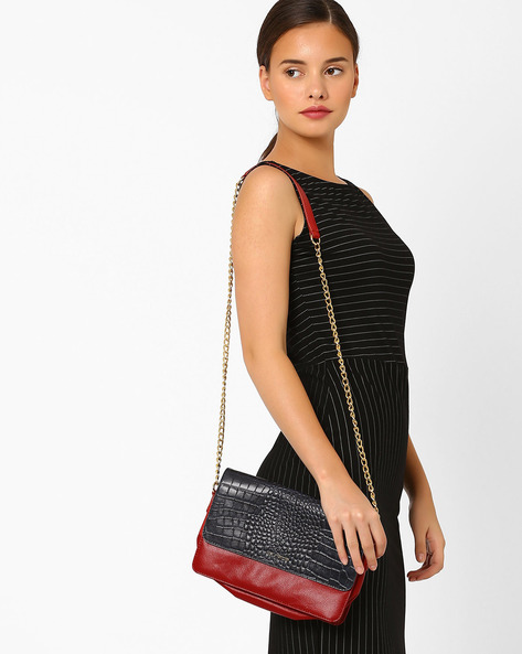 Textured Leather Sling Bag By La Roma ( Red )