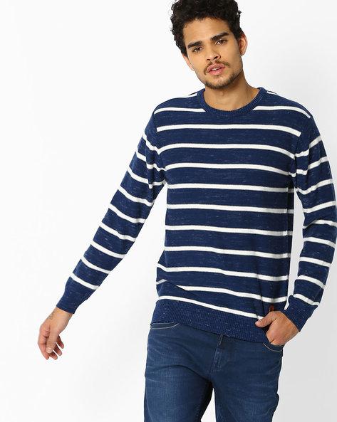 Striped Slub Cotton T-shirt By NETPLAY ( Navy )