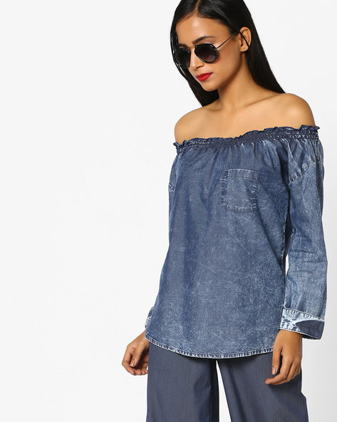 Off-Shoulder Top With Smocking By DNMX ( Blue )