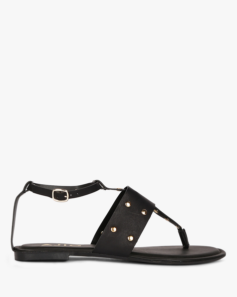 Ankle-Strap Flats With Metal Studs By AJIO ( Black )