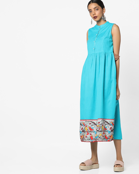 A-line Sleeveless Midi Dress By AJIO ( Turquoise )