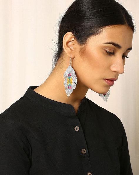 Beaded Dangler Earrings By Indie Picks ( White )