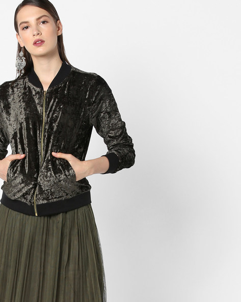 Velvet Jacket With Insert Pockets By RIO ( Olive )