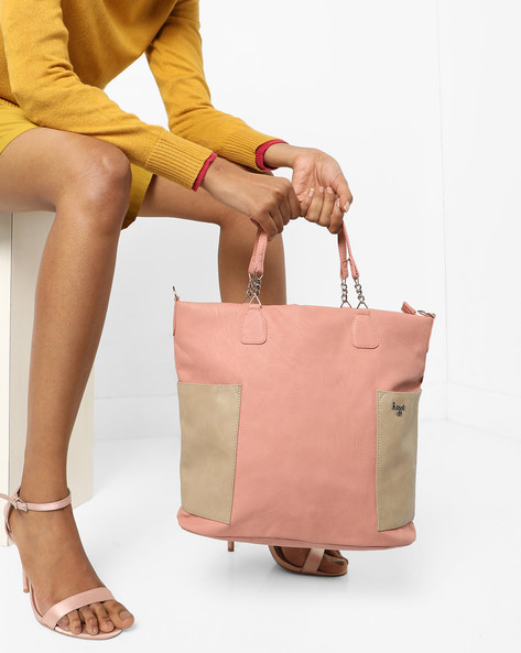 L Texas Y G Colourblock Tote Bag By BAGGIT ( Rose )